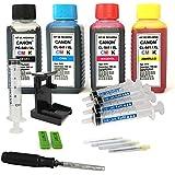 Kit de recarga para cartuchos de tinta Canon 540, 541, 540 XL, 541 XL negro y color, tinta de alta calidad incluye clip y accesorios