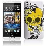 Etui de créateur pour HTC Desire 816 - Etui / Coque / Housse de protection blanc en Plastique Rigide (arrière rigide) avec motif crâne jaune