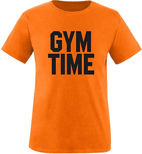 EZYshirt® Gym Time Herren Rundhals T-Shirt Orange/Schwarz