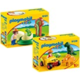 PLAYMOBIL® 1-2-3 Set: 9120 Scientist with Dinosaurs + 9121 Baby Dinosaur with Egg