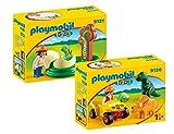 PLAYMOBIL 1-2-3 Kleinkinder - 2er-Set: 9120 Dinoforscher mit Quad und 9121 Dinobaby mit Ei