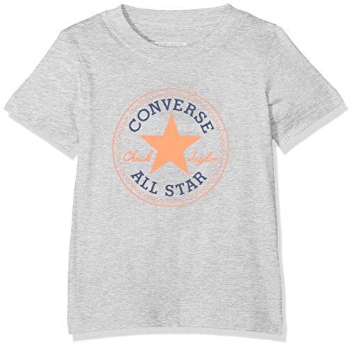 Converse Baby-Jungen Chuck Patch Tee T-Shirt, Grau (Dark Grey Heather w Wild Mango G2M), 0-12 (Hersteller Größe:12 Monate) (Kinder Bekleidung Converse)