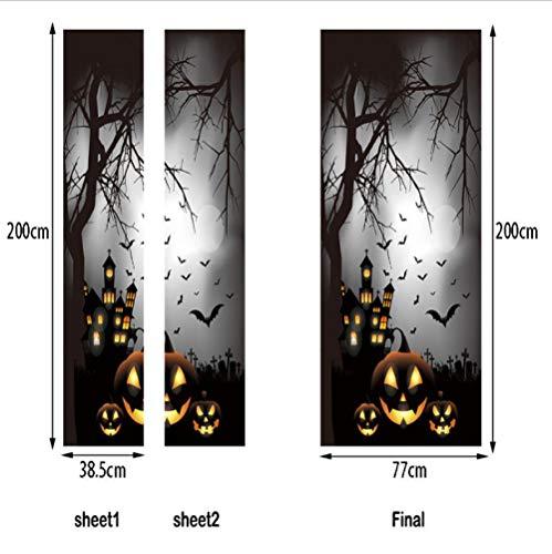 SJKstore 3D tür Aufkleber Kürbis Halloween Dekorationen Selbstklebende Vinyltür Wandbild DIY Wohnkultur Tapete Kreative Tür Aufkleber 77x200 cm