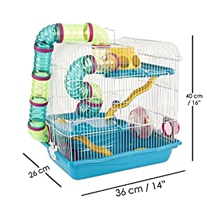 Anokhe Collections Giant 3 Floor Habitat, Playhouse Cage for Hamsters with All Accessories (Orange)