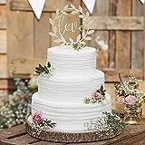PotteLove Unique Love Wreath Wedding Cake Topper.Mr & Mrs Wedding Cake Topper.Gold Glitter Acrylic Cake Topper for Wedding Engagement Party Decoration