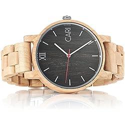 Cari Herren Männer Uhr Schweizer Quarzwerk mit Ahorn Holz-Armband Holzuhr Mailand-051