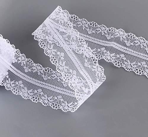 2 x 30M Spitzenbordüre Vintage 4cm Breit Absofine Spitzenband Spitzenborte Zierband Borte Bordüre Weiß für Hochzeit Party Ostern Weihnachten