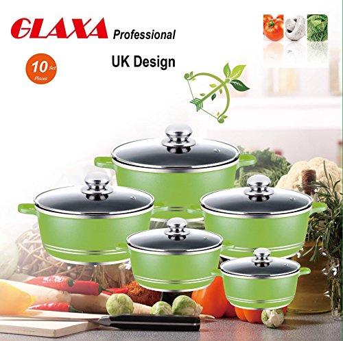 Glaxaantihaftbeschichtetes Aluminium-Kochgeschirr, Kasserolle-Set 20–32cm, 10 Stück grün (10 Stück Grün Kochgeschirr-set)