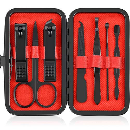 7er-Set Nagelknipser Set Edelstahl Maniküre Nagelpflegeschneider Tragbares Zehen- und Nagelschneider-Set für Herren Damen mit Lederbox