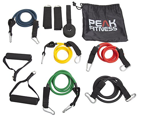 peak-fitness-resistance-band-set-with-door-anchor-ankle-strap-exercise-chart-and-carrying-case-100-s