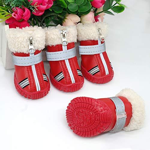 Feidaeu Warme Hundeschuhe Winter Wasserdichte Stiefel Schuh Regen Schnee Booties reflektierende Rutschfeste Hunde