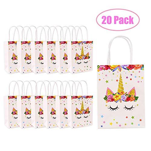 20 pcs Bolsas de papel de regalo unicornio, para decoración de fiesta de cumpleaños, para regalo, bolsas de dulces, para bodas