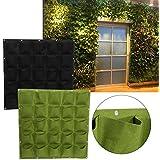 Yosoo - Sistema de jardinería vertical colgante para pared, 25 bolsillos para plantación al aire libre, manta vertical Verde