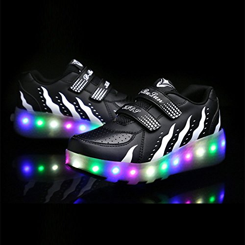 FZUU Kinds Kinder Schuhe Boy & Girls Casual mit LED Lampe Mode Sport Schuhe für Chid Kids Flash Sneakers Schwarz