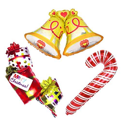 NANIH Home 3 stücke Weihnachten Ballons Glocken Candy Cane Geschenkboxen Aluminiumfolie Folienballons Große Urlaub Ballons für Weihnachten Home Party Dekoration (Candy Cane Große)