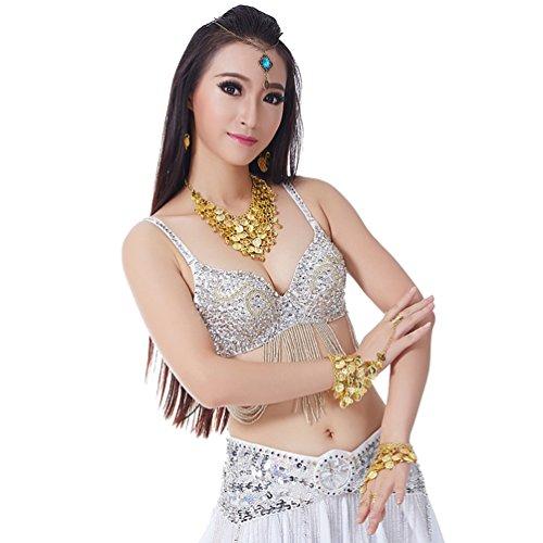 Kostüm Indischer Jungen Tanz - YouPue BH Bauchtanz Bauchtänzerin Münzen Tanz Gold Bauchtanzoberteil Gürtel Bauchtanz-Kostüm Silber