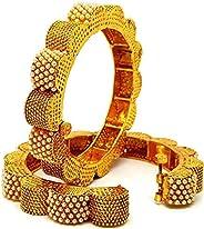 Swara Creations Brass Kadas Studded with Beautiful Tiny Pearls for Women & Girls(