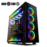 anidees AI Crystal XL RGB V3 Full Tower Gehärtetes Glas XL-ATX/E-ATX/ATX PC Gaming Gehäuse Unterstützung, 5 x 120 PWM RGB Lüfter / 2 x adressierbar RGB LED Streifen - Schwarz (NUR PC-Fall)