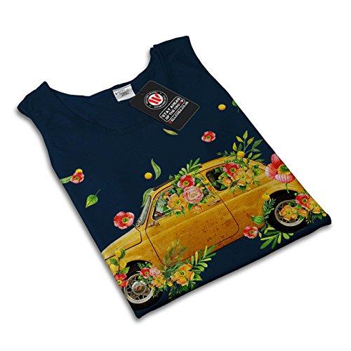 Hippie Auto Klassisch Auto Gelb Reiten Damen Schwarz S-2XL Muskelshirt   Wellcoda Marine