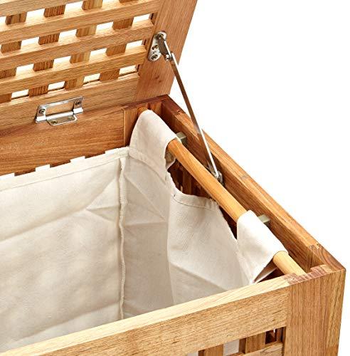 Relaxdays Wäschetruhe Walnuss mit Deckel, entnehmbarer Wäschesack, 70L, 52,5×39,5×55,5cm - 6