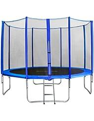 SixBros. Sixjump 3,70 M Trampoline de jardin bleu Certifié par Intertek / GS Filet de sécurité - Échelle - Housse de protection - CST370/L1717