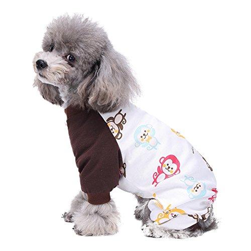 Handfly Per Hunde/Katze Pyjamas mit Reizendes Tatzen Muster und Four Feet Design, Weich Alle Jahreszeiten Haustier Schlafanzug Jacken für Kleine und Mittelgroße Hunde - XS/S/M/L/XL (Bestickte Schlafanzug)