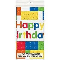 Unique Party Mantel de Hule Fiesta de Cumpleaños de Bloques de Construcción, Multicolor, 2,13 m x 1,37 m (58233)