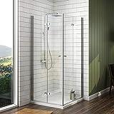 EMKE 100 x 90 cm Eckeinstieg Klappbar Duschkabine Duschabtrennung Falttür 6mm ESG Glas Duschtür mit Seitenwand + Duschwanne