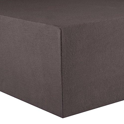 CelinaTex Lucina Spannbettlaken 180x200-200x200 cm anthrazit grau Baumwolle Spannbetttuch