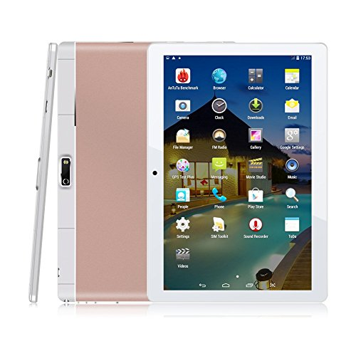 9.6 Pouces Android Tablette Tactile,1G RAM +16G ROM, QIMAOO 1280x800 HD IPS Ecran d'Affichage Quad Core Tablette PC avec Slot de SIM Carte,Supporter Wifi,Bluetooth(Or Rose)