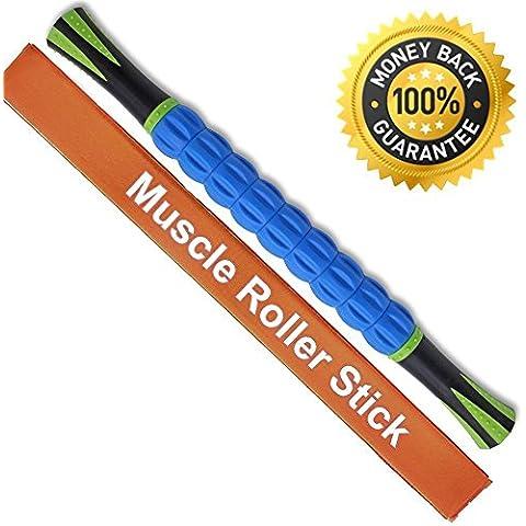 angker músculo rodillo stick para athletes-18pulgadas Cuerpo Masaje Sticks tools-muscle rodillo masajeador para aliviar el dolor muscular, calambres y rigidez, ayuda piernas y espalda, recuperación,