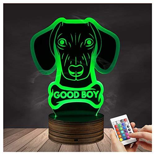 Chengyd Lampen-Dackel-Nachtlicht der optischen Täuschung 3D LED, USB-angetriebene Fernbedienung ändert die Farbe des Lichtes, Kindergeburtstagsgeschenk-Schlafzimmer-Dekoration (Dackel Wars Star)