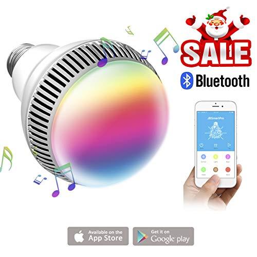 morpilot Musik Leuchtmittel mit Bluetooth, Smart E27 dimmbar Bluetooth Lautsprecher Leuchtmittel – LED Musik Licht Glühbirne Kostenlose App Control für iOS und Android