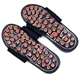 FREE 2 Acupressure Finger Ring (Gold and Silver) | Healthllave Acupressure Slippers | Foot Massager Sandals For Pain Relief & Total Health Care Useful for Heel Pain (7, High Quality - Black & Brown)