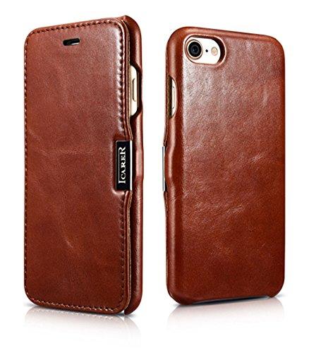Luxus Tasche für Apple iPhone 8 und iPhone 7 (4.7 Zoll) / Case mit Echt-Leder Außenseite / Schutz-Hülle seitlich aufklappbar / ultra-slim Cover / Etui mit Textil-Innenseite / Vintage Look / Farbe: Braun