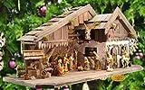 OLBAUM-Krippe KA70du-MF-ALP-T2LF1 XXL Holz - Weihnachtskrippe mit großer Bodenplatte, mit Holz-Brunnen MIT HOLZDACH + PREMIUM-DEKOSET