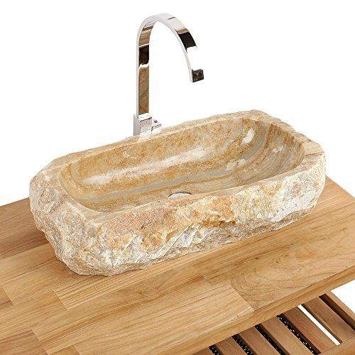 Naturstein Onyx Waschbecken Waschschale Aufsatzwaschbecken Unikat 60x30x14 cm