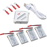 Crazepony-UK 4pcs 1S Lipo 3.7V 650mAh 25C Bateria JST Plug and 4 in 1...