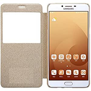 Karimobz Imported leather type flip cover for Samsung Galaxy C9 Pro - Gold
