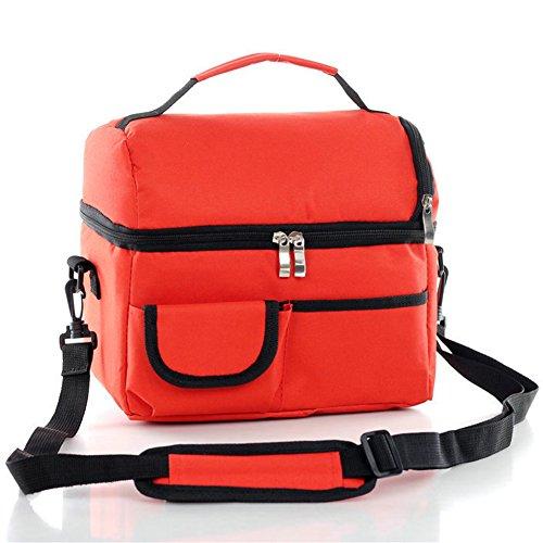 Candora 8L borsa termica borsa termica isolata personali cooler-double layer-multi functional-cooler cerniera borsa pranzo (Flap Satchel Handbag)