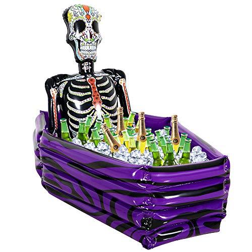 VAMEI Bebidas inflables Enfriador Cráneo y ataúd Porta Hielo Dia de los muertos Día Mexicano de los Muertos Comida Enfriador de bebidas Fiesta de Halloween favorece Picnic al aire libre Picnic Camping