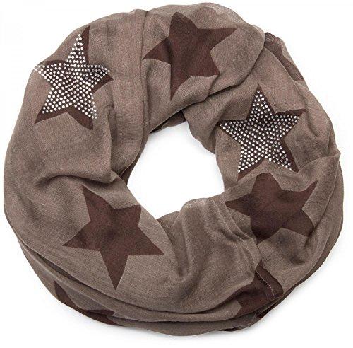 styleBREAKER Loop Schlauchschal mit Sterne Muster und edler Strass Applikation, Damen 01018086, Farbe:Braun-Dunkelbraun