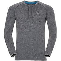 Odlo – Camiseta técnica Hombre ML Performance Warm Black – Hombre – Negro, Hombre, Color Grey Melange/Black, tamaño S