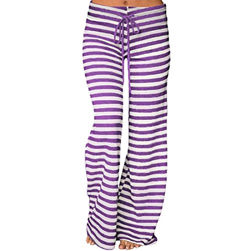 Women Casual High Waist Trousers Striped Printed Loose Pants Bottoms