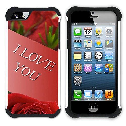 Graphic4You Liebe Herz Hart + Weiche Kratzfeste Hülle Case Schale Tasche Schutzhülle für Apple iPhone SE / 5 / 5S Design #42