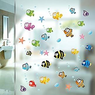 Zooarts Ocean Sea Bubble Fishes Removable Space Bathroom Window Wall Sticker Decals Vinyl Decor Children's Room Nursery Mural