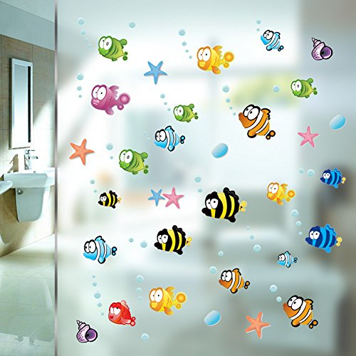 Zooarts Ocean Sea Bubble Fishes Removable Space Bathroom Window Wall Sticker Decals Vinyl Decor Children's Room Nursery Mural