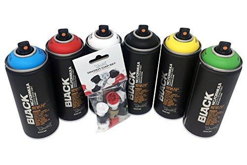 Grundfarben Sprühdosen Set 6x400ml Montana Black - schwarz, weiß, grün, blau, rot, gelb & Ersatzsprühköpfe
