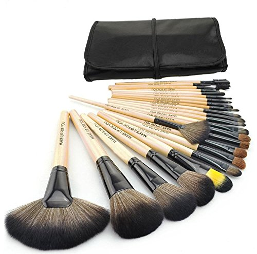 Cosmetic-Makeup-Brush-Set-24-Piece-with-Black-Leather-Case