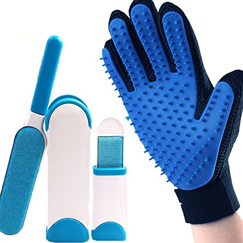 Jeffica Pet Gloves * 1 + Super Cleaning Brush * 1 Pet Fur Remover for Dogs and Cats